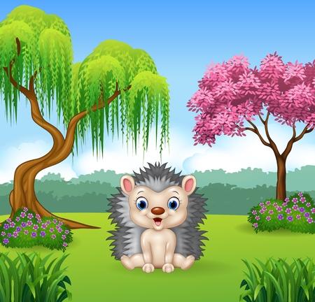 selva caricatura: Ilustración del vector del erizo divertido de la historieta que se sienta en la selva Vectores