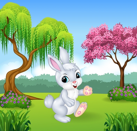 Vector illustration of Cute little bunny walking in the forest