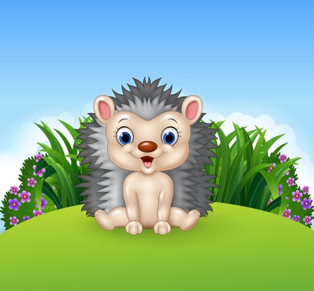 prickles: Vector illustration of Cute little hedgehog,sitting on the jungle
