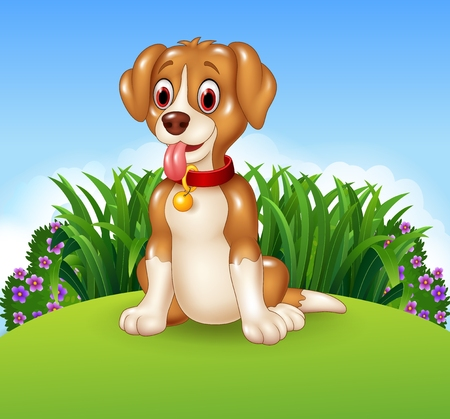 meadows: Vector illustration of Cute dog sitting on the meadow background Illustration