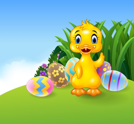 ester: Vector illustration of Cute little duck with colourful Easter eggs