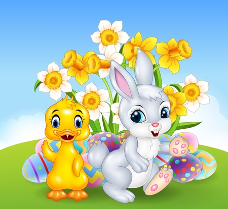 ester: Vector illustration of Cartoon happy duck and bunny with colourful Easter eggs