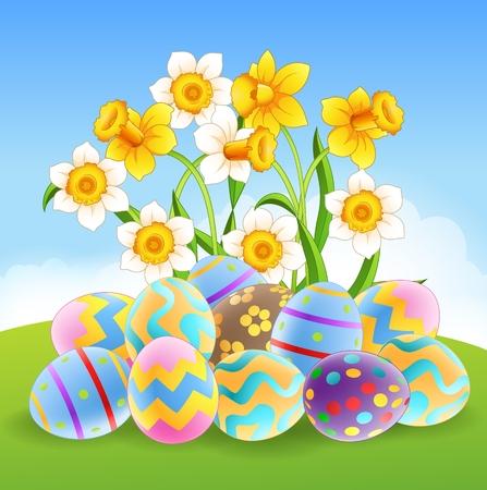ester: Vector illustration of Illustration of colourful Easter eggs