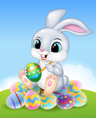baby rabbit: Vector illustration of Cartoon Easter Bunny painting an egg on the easter eggs