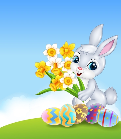 ester: Vector illustration of Cartoon happy bunny holding flower with colourful Easter eggs