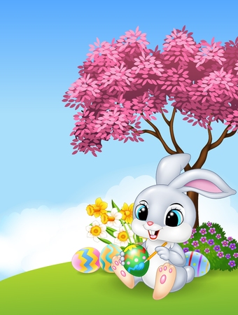 ester: Vector illustration of Cute Easter Bunny painting an egg