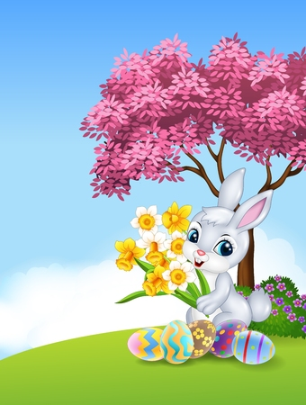 cartoon painter: Vector illustration of Cartoon bunny holding flower with colourful Easter eggs