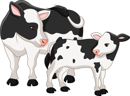 Vector illustration of Cute cow mother with baby calf