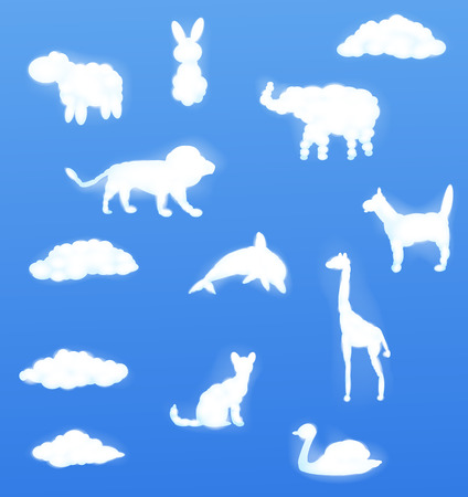 clouds cartoon: Vector illustration of Animal clouds shape Vectores