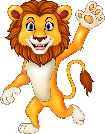 giggle: Vector illustration of Cartoon funny lion waving hand on white background Illustration