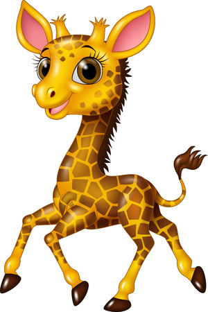 Vector illustration of Cartoon baby giraffe running isolated on white background