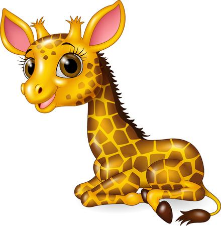 jirafa fondo blanco: ilustraci�n vectorial de dibujos animados beb� jirafa divertida sesi�n aislados en fondo blanco