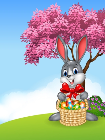 silly: Vector illustration of Cartoon easter bunny holding Easter basket full of decorated Easter eggs Illustration