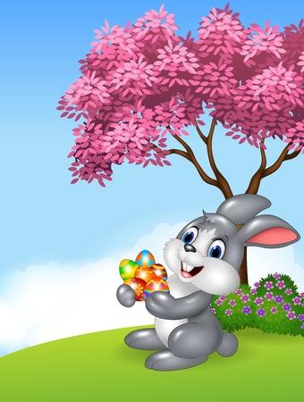 huevo caricatura: Ilustraci�n del vector del conejito de pascua que sostiene los huevos de Pascua en la selva