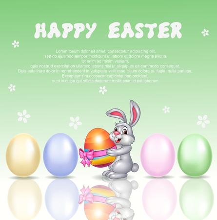 huevo caricatura: Ilustraci�n vectorial de conejo de dibujos animados linda con el fondo de Pascua feliz