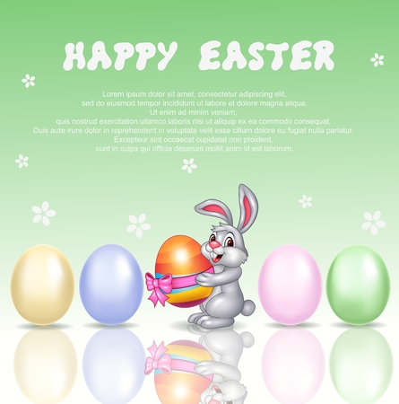 ester: Vector illustration of Cute bunny cartoon with happy easter background