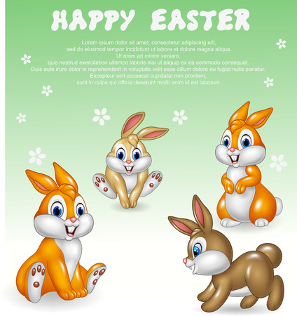 cute rabbit: Vector illustration of Cute little bunny collection with happy easter background