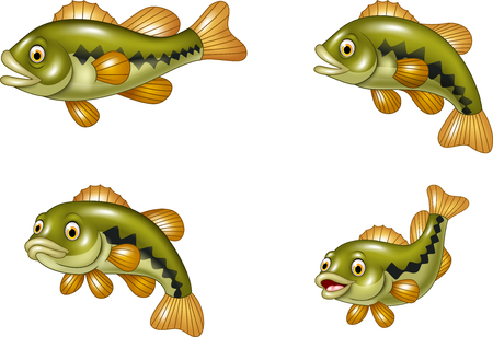 Vector illustration of Cartoon funny bass fish collection isolated on white background Illusztráció