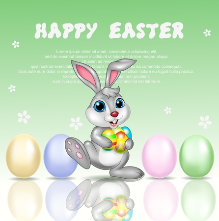 ester: Vector illustration of Cartoon bunny with happy easter background
