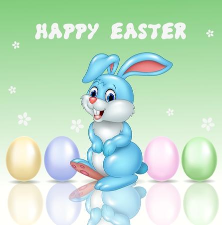 huevo caricatura: Ilustraci�n del vector del peque�o conejito lindo con el fondo de Pascua feliz Vectores