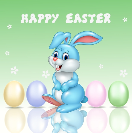 cartoon smile: Vector illustration of Cute little bunny with happy easter background Illustration