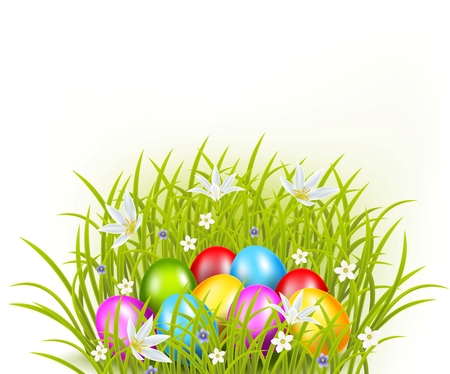 eater: Vector illustration of Beautiful collection easter eggs on grass background Illustration