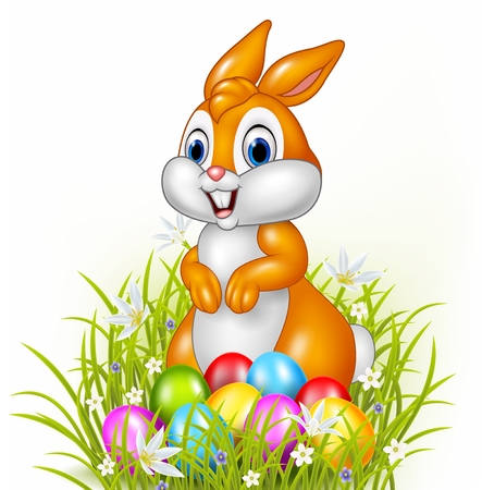 easter background: Vector illustration of Cartoon bunny with easter eggs