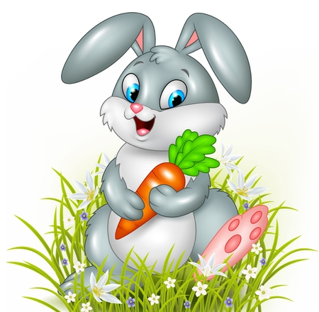 bush babies: Vector illustration of Cute bunny holding carrot