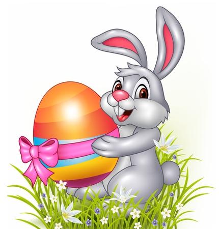 huevos de pascua: Ilustración del vector del pequeño conejito lindo que sostiene los huevos de Pascua