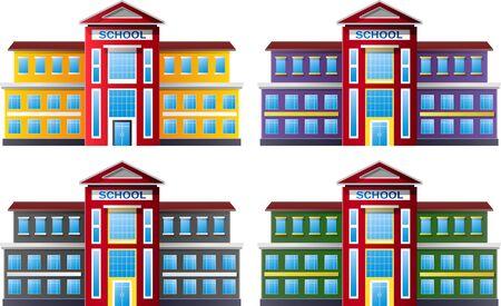 multilevel: Vector illustration of school building collection set Illustration