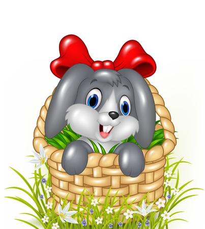 flor caricatura: Ilustración del vector del pequeño conejito lindo en una cesta con la cinta roja