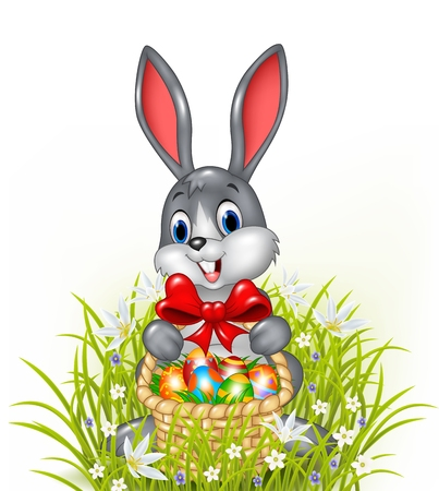 Vector illustration of A Easter bunny with a basket of painted Easter eggs
