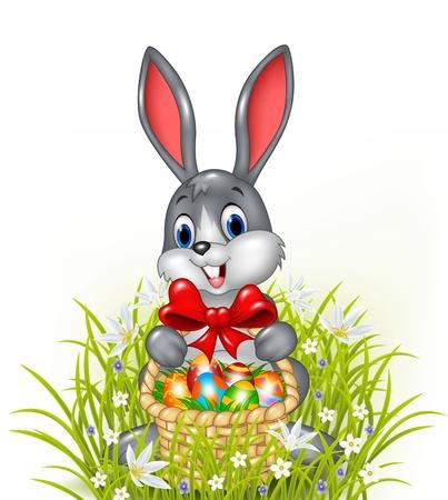 huevo caricatura: Vector ilustraci�n de un conejito de Pascua con una cesta de huevos de Pascua pintados