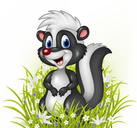 stinky: Vector illustration of Cartoon skunk on grass background Illustration