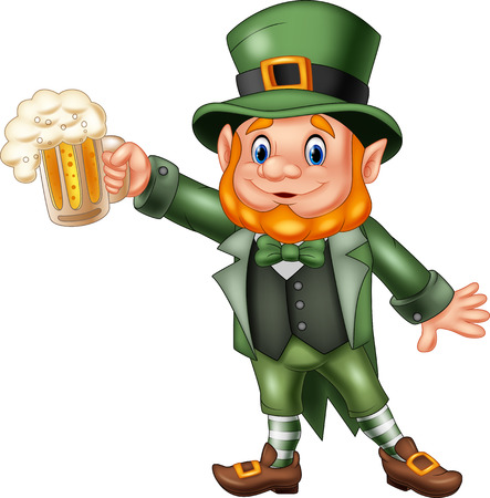 Vector illustration of Cartoon St Patricks Day, Leprechaun with mug beer
