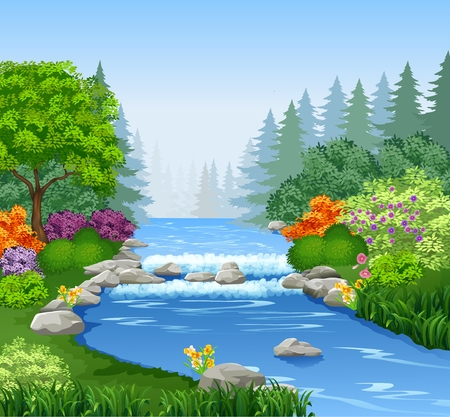 forest trees: Vector illustration of Beautiful mountain river in forest