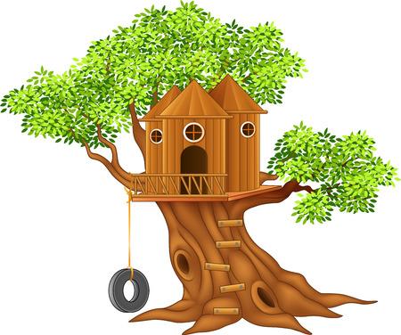 bambu: Ilustración del vector de la casa linda pequeño árbol Vectores