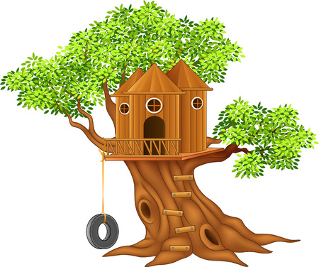 Vector illustration of Cute small tree house Çizim