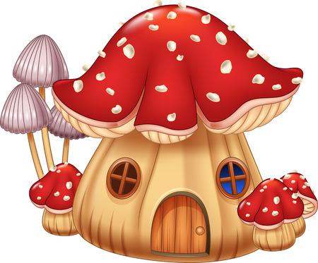cartoon mushroom: Vector illustration Mushroom house