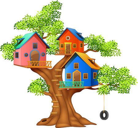 Vector illustration of a colorful tree house Çizim