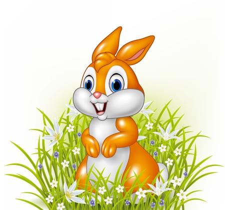 character cartoon: Vector illustration of Cartoon rabbit on grass background Illustration