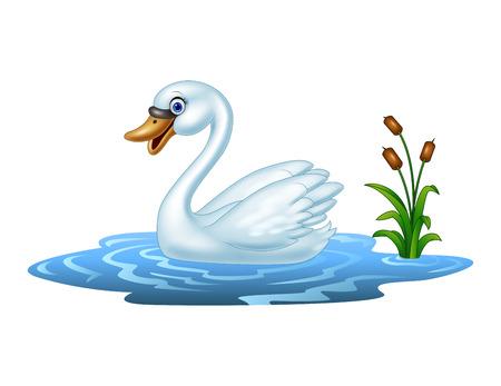 Vector illustration of Cartoon beauty swan floats on water