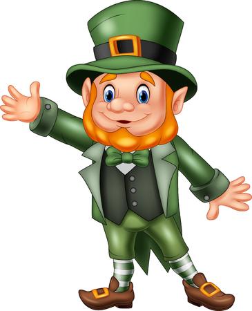 Vector illustration of Cartoon happy leprechaun waving hand Zdjęcie Seryjne - 53334666