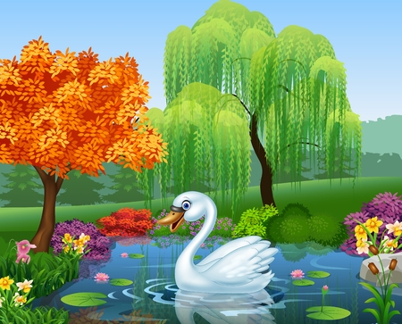 arboles caricatura: Ilustración del vector del cisne lindo flota sobre el río de montaña Vectores