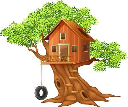 Vector illustratie van mooie boomhut cartoon Stock Illustratie