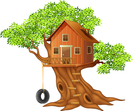 house: Vector illustration of Beautiful tree house cartoon