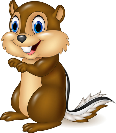 Vector illustration of Cartoon chipmunk sitting