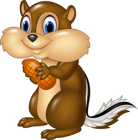 ardilla: ilustración vectorial de dibujos animados ardilla sosteniendo maní aislado en el fondo blanco Vectores