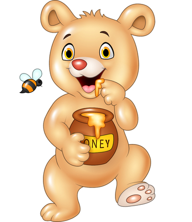 Vector illustration of Cute baby bear holding honey pot isolated on white background Illustration