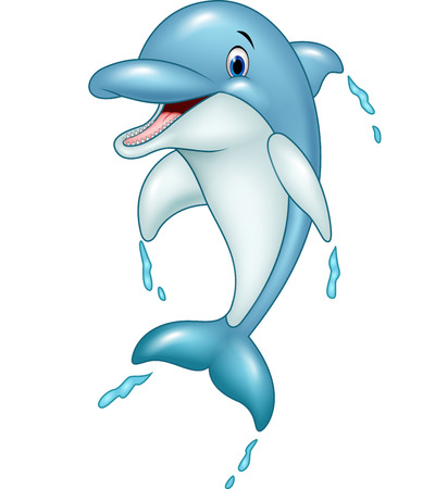 Vector illustration of Cartoon dolphin jumping